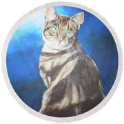 Round Beach Towel featuring the painting Cat Profile by Thomas J Herring