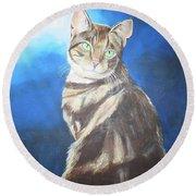 Cat Profile Round Beach Towel