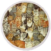 Cat Spread Round Beach Towel