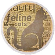 Cat Typography Round Beach Towel