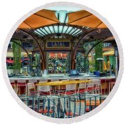 Catal Outdoor Cafe Downtown Disneyland 01 Round Beach Towel