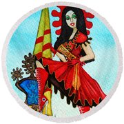 Round Beach Towel featuring the painting Catalan Girl In Converse by Don Pedro De Gracia