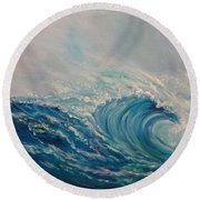 Round Beach Towel featuring the painting Wave 111 by Jenny Lee