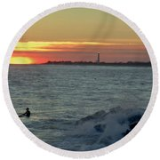 Round Beach Towel featuring the photograph Catching A Wave At Sunset by Ed Sweeney