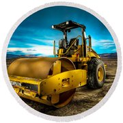 Caterpillar Cat Roller Cs563e Round Beach Towel