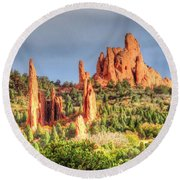 Cathedral And Gateway Round Beach Towel by Lanita Williams