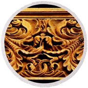 Cathedral Carving Round Beach Towel by Susanne Still