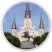 Round Beach Towel featuring the photograph Cathedral In Jackson Square by Alys Caviness-Gober