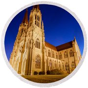 Morning At The Cathedral Of St Helena Round Beach Towel