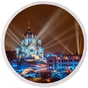 Cathedral Of St Paul Ready For Red Bull Crashed Ice Round Beach Towel by Paul Freidlund