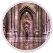 Cathedral Reflections Round Beach Towel