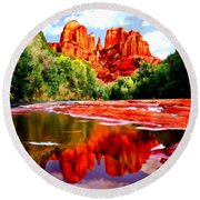 Cathedral Rock Sedona Arizona Round Beach Towel