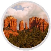 Cathedral Rock Sunset Round Beach Towel by Bob and Nadine Johnston