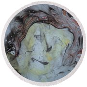 Round Beach Towel featuring the painting Catman by Mike Breau