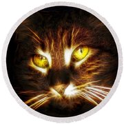 Cat's Eyes - Fractal Round Beach Towel by Lilia D