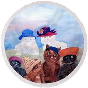 Cats In Hats Round Beach Towel