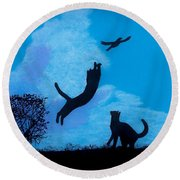 Round Beach Towel featuring the drawing Cats -  Playing by D Hackett