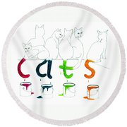 Cats With Paint Cans Round Beach Towel