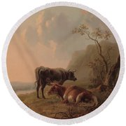 Cattle In An Italianate Landscape Round Beach Towel