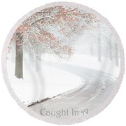 Caught In A Winter Wonderland Round Beach Towel