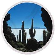 Cave And Cacti Incahuasi Island Round Beach Towel