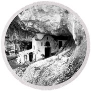 Round Beach Towel featuring the photograph cave church on Mt Olympus Greece by Nina Ficur Feenan