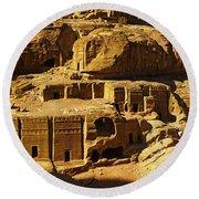 Cave Dwellings, Petra, Jordan Round Beach Towel
