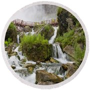 Cave Of The Winds At Niagara Falls Round Beach Towel