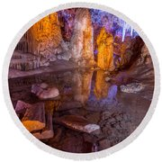 Cave Reflection Round Beach Towel