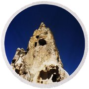 Caves And Fairy Chimneys Of Cappadocia Round Beach Towel