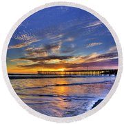 Cayucos Sunset Round Beach Towel