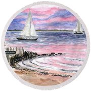 Cedar Beach Pinks Round Beach Towel