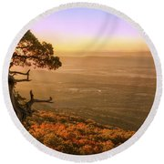 Cedar Tree Atop Mt. Magazine - Arkansas - Autumn Round Beach Towel