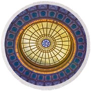 Round Beach Towel featuring the photograph Ceiling In The Chattanooga Choo Choo Train Depot by Susan  McMenamin