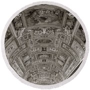 Ceiling Of Hall Of Maps Round Beach Towel