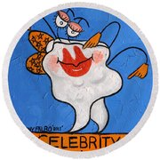 Round Beach Towel featuring the painting Celebrity Tooth Implant Dental Art By Anthony Falbo by Anthony Falbo