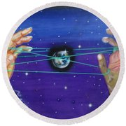 Celestial Cats Cradle Round Beach Towel