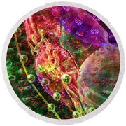 Round Beach Towel featuring the digital art Cell Dreaming 8 by Russell Kightley