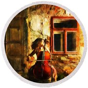 Cellist By Night Round Beach Towel