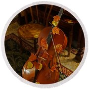 Cello Autumn 1 Round Beach Towel