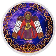 Celtic Angel Rising Round Beach Towel