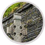 Celtic Cross At Kilmurry-ibrickan Church Round Beach Towel