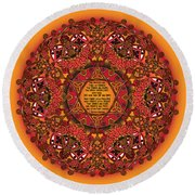 Celtic Fall Fairy Mandala Round Beach Towel