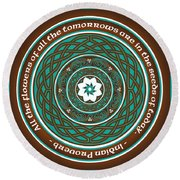 Celtic Lotus Mandala Round Beach Towel
