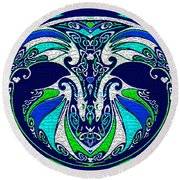 Celtic Love Dragons Round Beach Towel by Michele Avanti