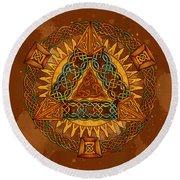 Celtic Pyramid Mandala Round Beach Towel
