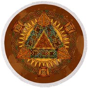 Celtic Pyramid Mandala Round Beach Towel