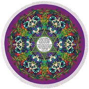 Celtic Spring Fairy Mandala Round Beach Towel