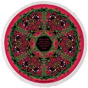 Celtic Summer Fairy Mandala Round Beach Towel