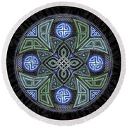 Celtic Ufo Mandala Round Beach Towel